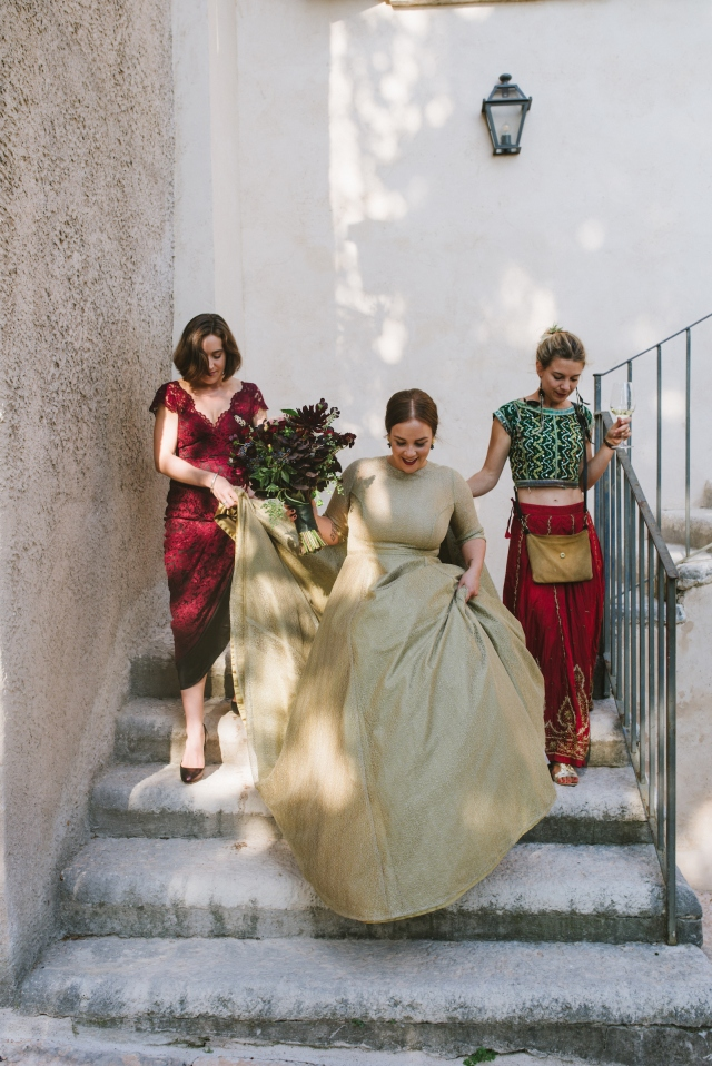 Paula's wedding dress, stone steps, gold and red