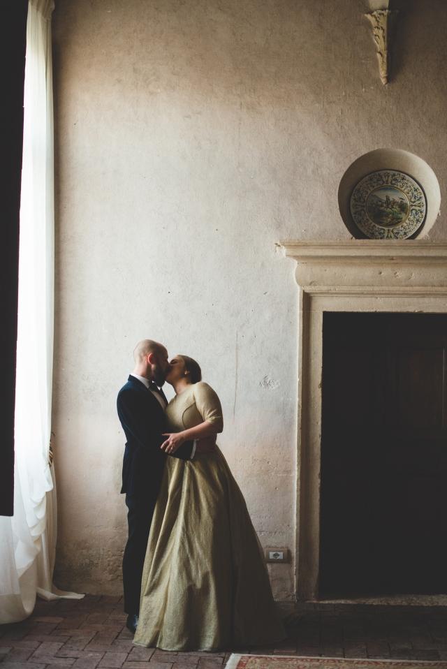 Paula's dress, bride and groom, stone wall fireplace