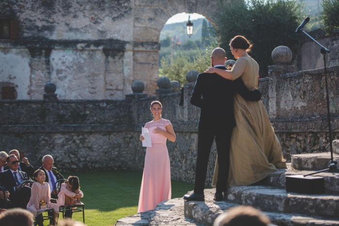 Paul's dress, back view, stone steps speeches