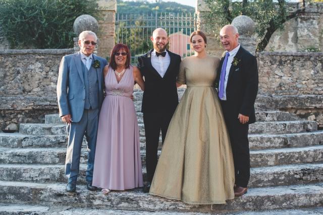 Paula's dress, full length, stone steps family group
