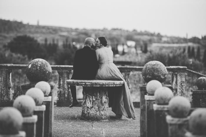 Paula's dress, seated kiss on pedestal